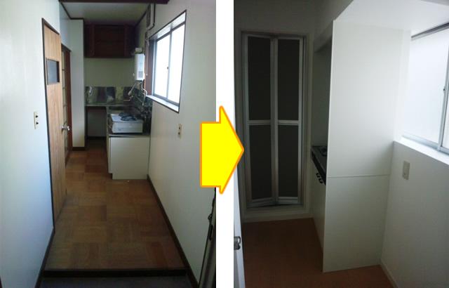 玄関→水廻りスペース(301号室)